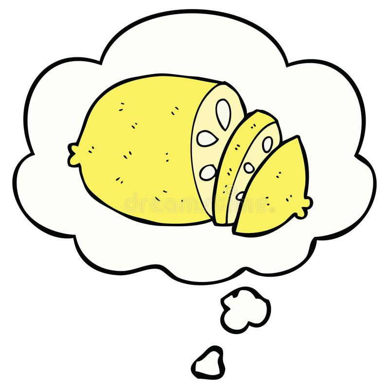 A creative cartoon sliced lemon and thought bubble. An original creative cartoon sliced lemon and thought bubble royalty free illustration