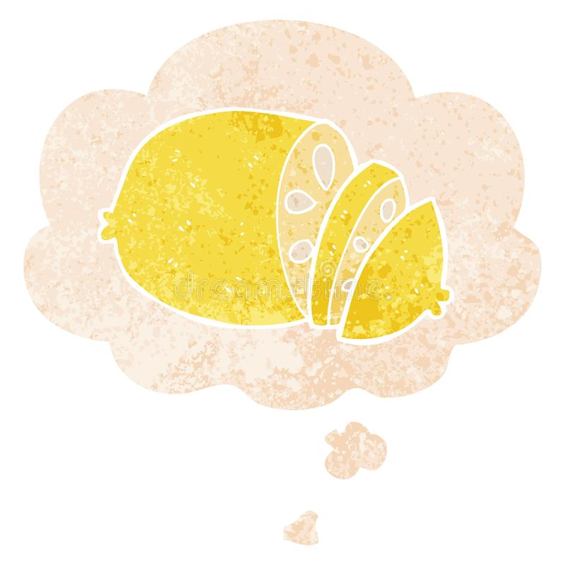 A creative cartoon sliced lemon and thought bubble in retro textured style. An original creative cartoon sliced lemon and thought bubble in retro textured style royalty free illustration