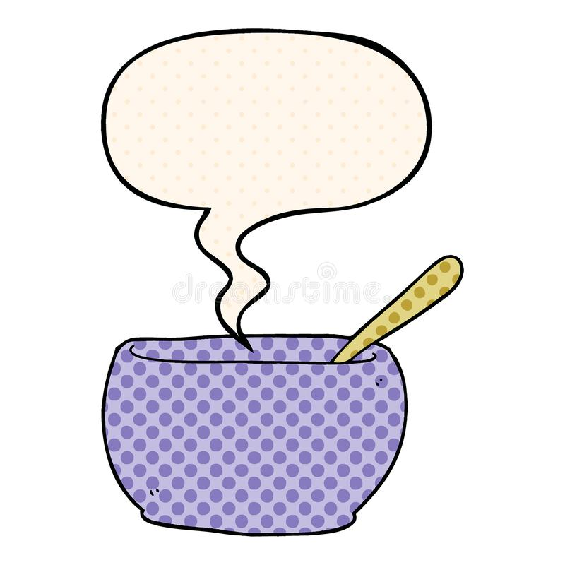 A creative cartoon soup bowl and speech bubble in comic book style. An original creative cartoon soup bowl and speech bubble in comic book style royalty free illustration
