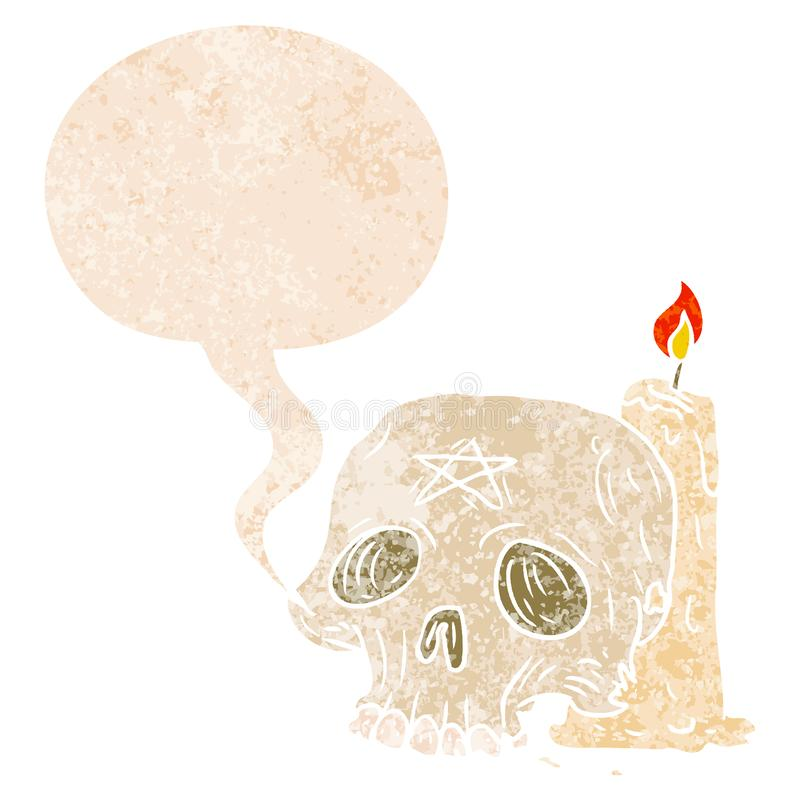 A creative cartoon spooky skull and candle and speech bubble in retro textured style stock illustration