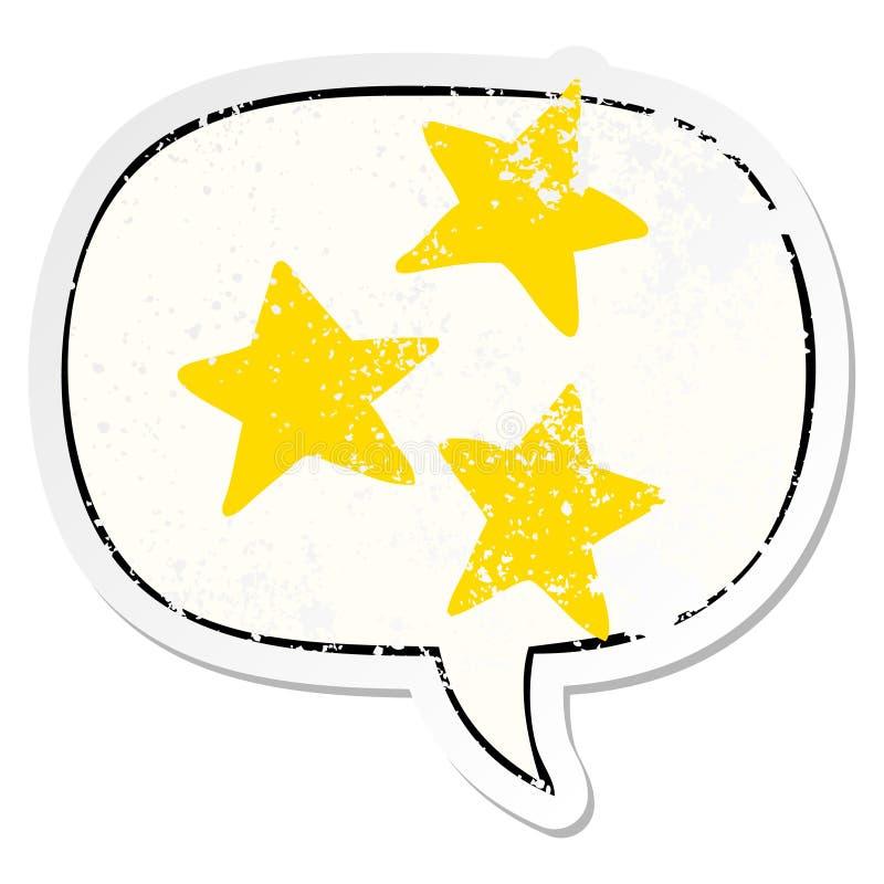 A creative cartoon stars and speech bubble distressed sticker. An original creative cartoon stars and speech bubble distressed sticker vector illustration