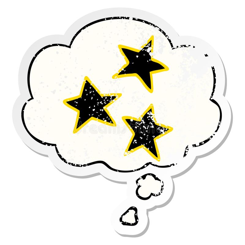 A creative cartoon stars and thought bubble as a distressed worn sticker. An original creative cartoon stars and thought bubble as a distressed worn sticker royalty free illustration