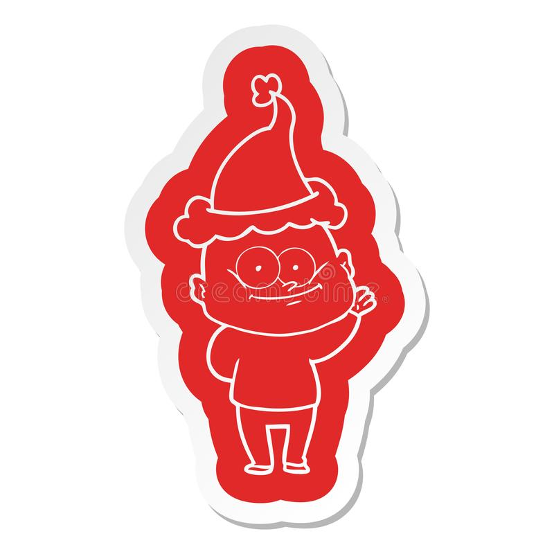 A creative cartoon  sticker of a bald man staring wearing santa hat. An original creative cartoon  sticker of a bald man staring wearing santa hat royalty free illustration
