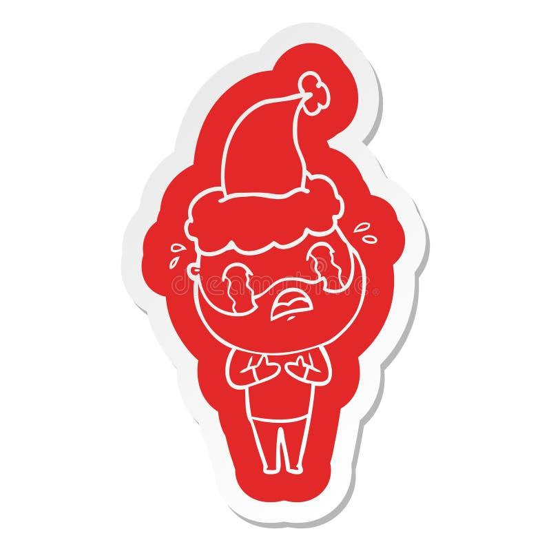 A creative cartoon  sticker of a bearded man crying wearing santa hat vector illustration