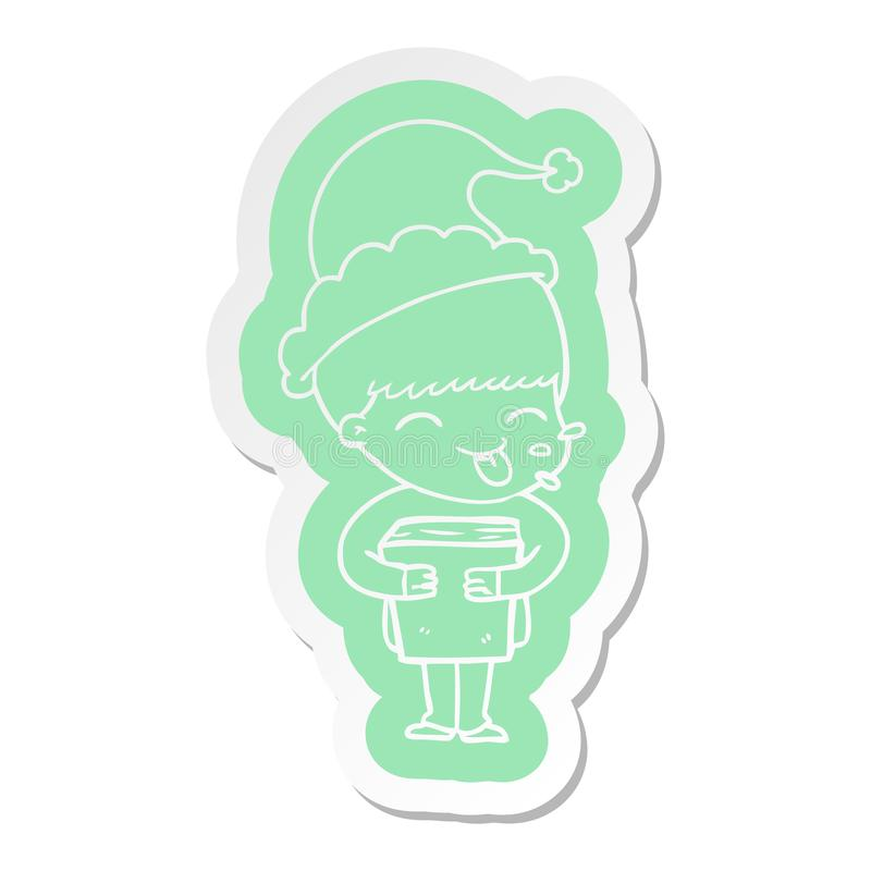 A creative cartoon  sticker of a boy wearing santa hat. An original creative cartoon  sticker of a boy wearing santa hat royalty free illustration