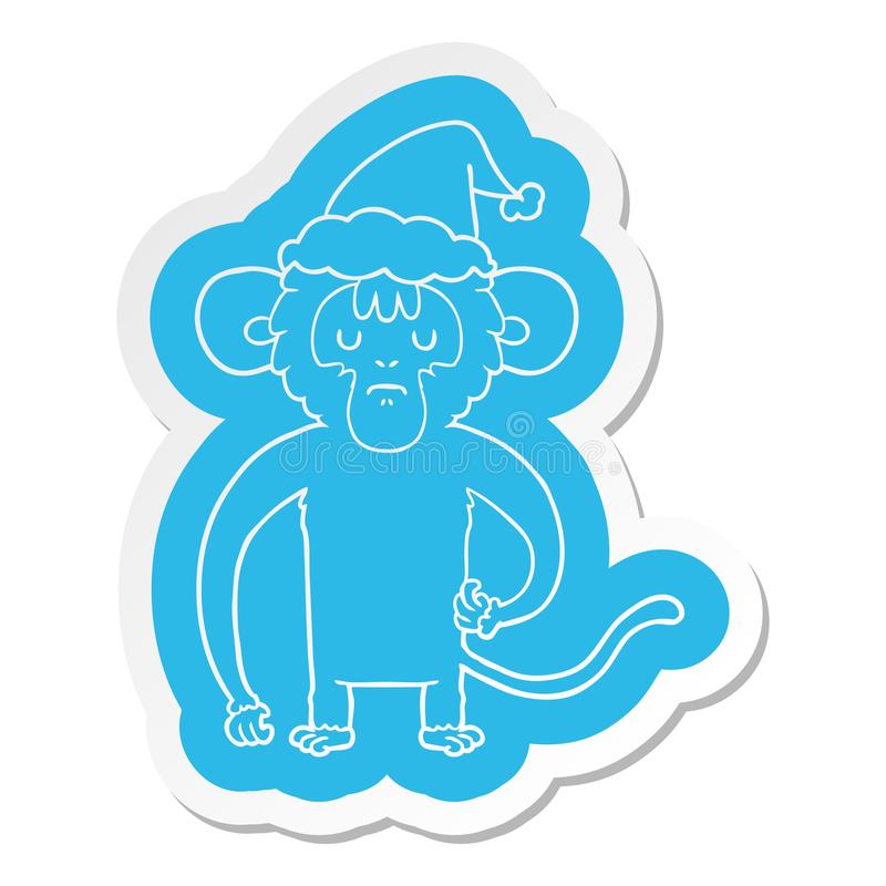 A creative cartoon  sticker of a monkey scratching wearing santa hat. An original creative cartoon  sticker of a monkey scratching wearing santa hat royalty free illustration