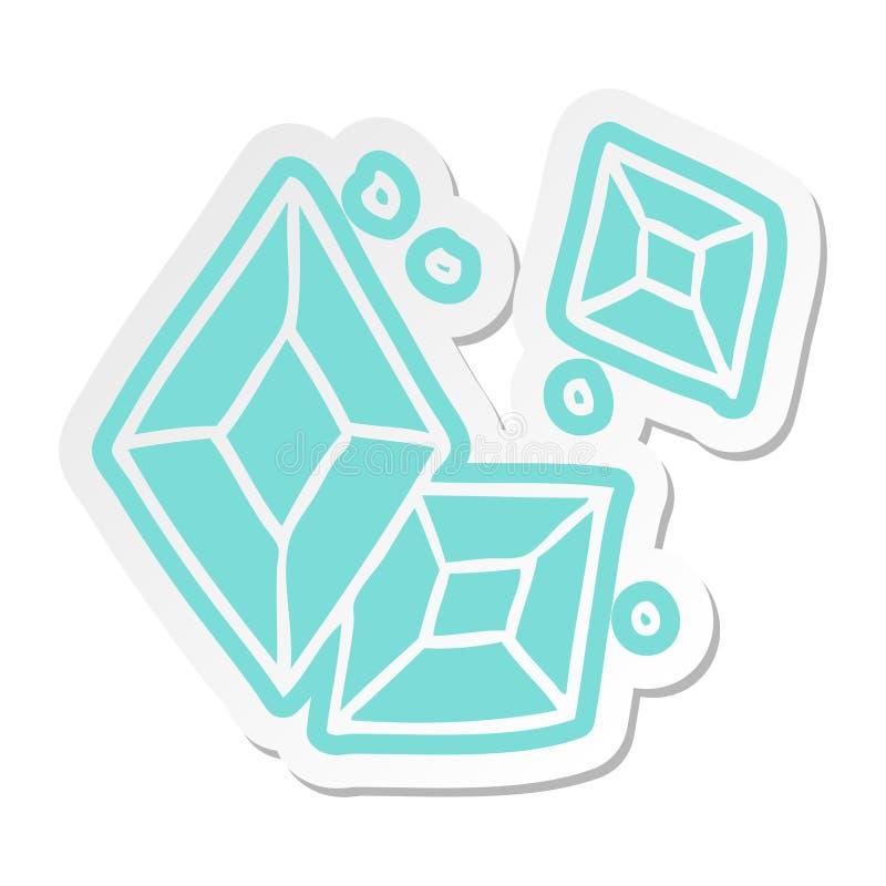 A creative cartoon sticker of some ruby gems. An original creative cartoon sticker of some ruby gems stock illustration