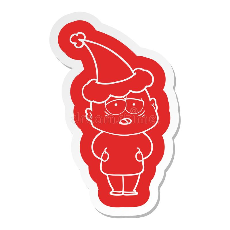 A creative cartoon  sticker of a tired bald man wearing santa hat. An original creative cartoon  sticker of a tired bald man wearing santa hat royalty free illustration