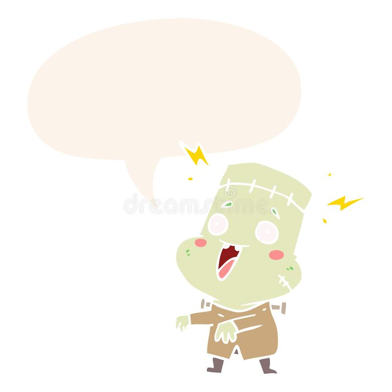A creative cartoon undead monster creation man and speech bubble in retro style. An original creative cartoon undead monster creation man and speech bubble in royalty free illustration