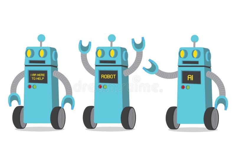 Creative cartoon vector illustration of robot on white background. stock illustration
