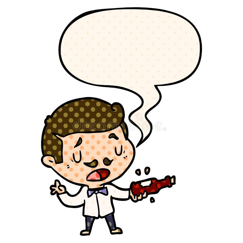 A creative cartoon wine expert explaining and speech bubble in comic book style. An original creative cartoon wine expert explaining and speech bubble in comic vector illustration