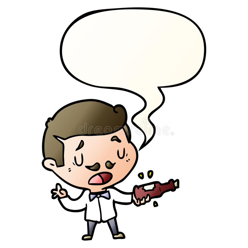 A creative cartoon wine expert explaining and speech bubble in smooth gradient style. An original creative cartoon wine expert explaining and speech bubble in royalty free illustration