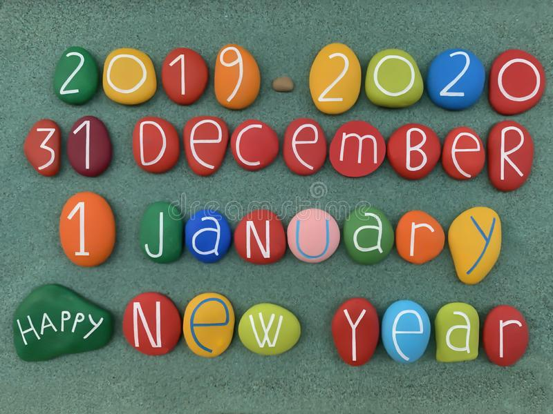 31 December 2019, 1 January 2020, Happy New Year with a creative composition of multi colored stone letters stock photos