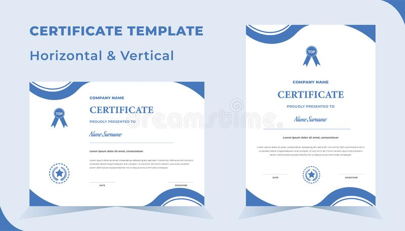 Creative certificate of appreciation award template with blue  color stock photography