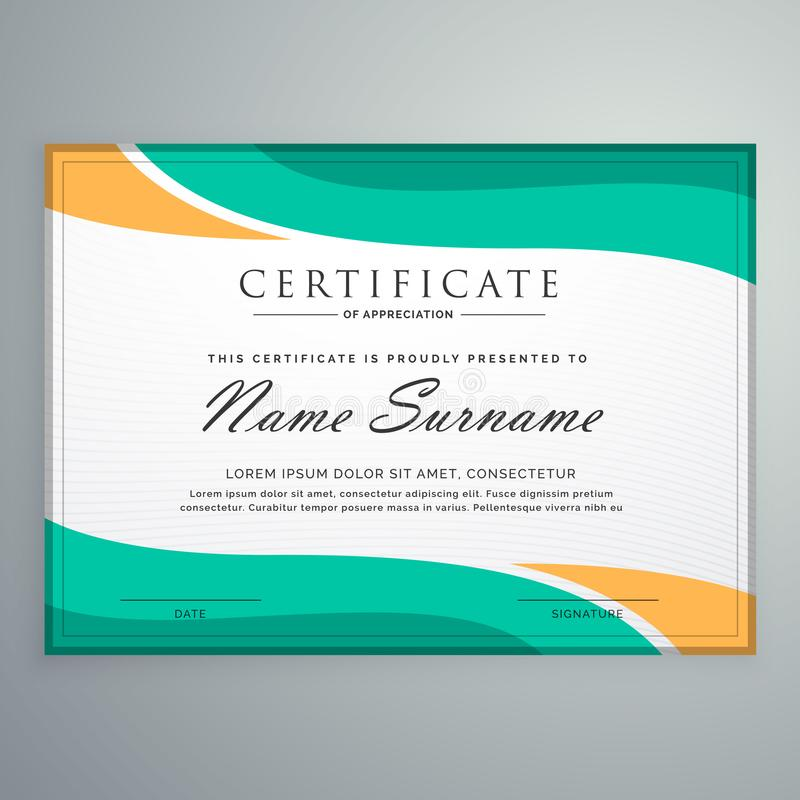 Creative certificate of appreciation with wavy shapes vector illustration
