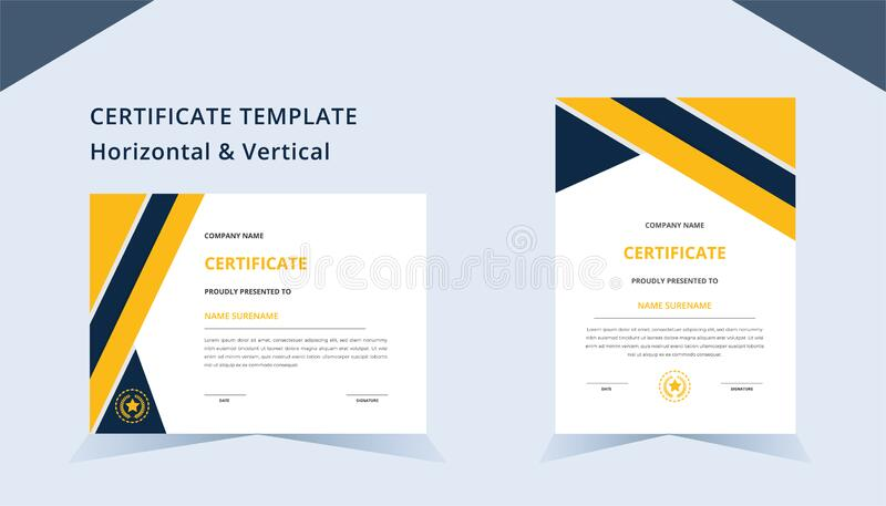 Creative certificate template horizontal & vertical with luxury badge and modern shape. for award and education stock photography