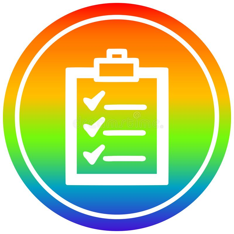 A creative check list circular in rainbow spectrum. An original creative check list circular in rainbow spectrum stock illustration