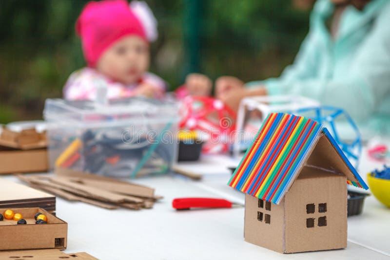 Creative children play with craft. Cute preschool children prepa stock images