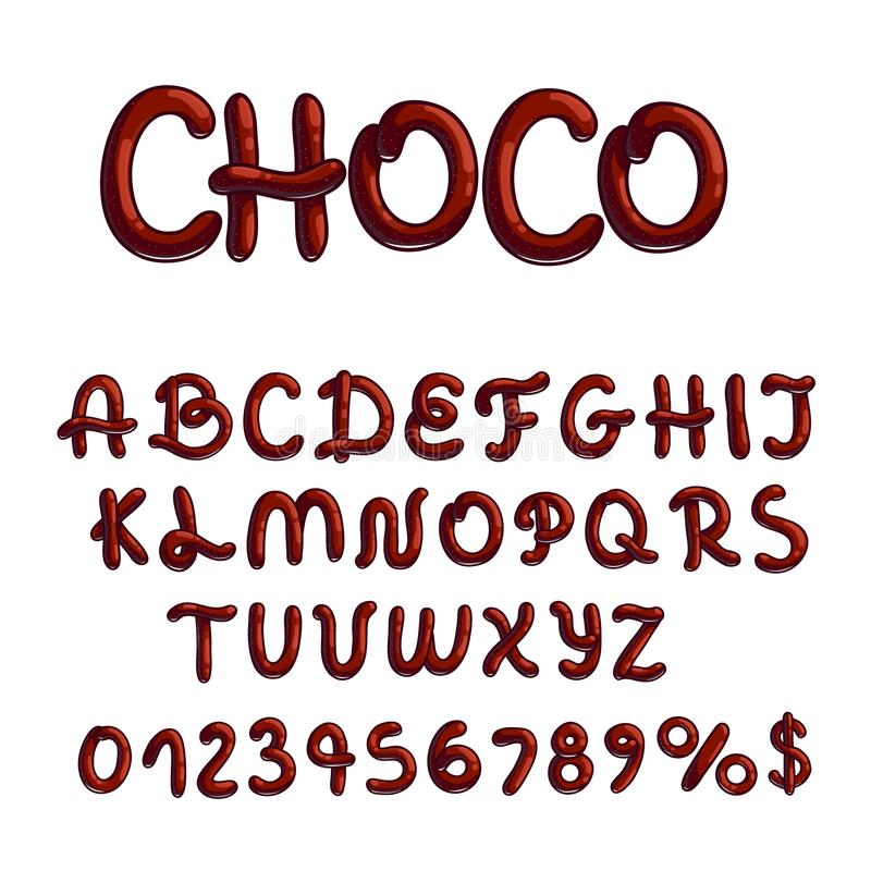 Chocolate font type on white background. Creative chocolate designed font type with letters and numbers on white background vector illustration