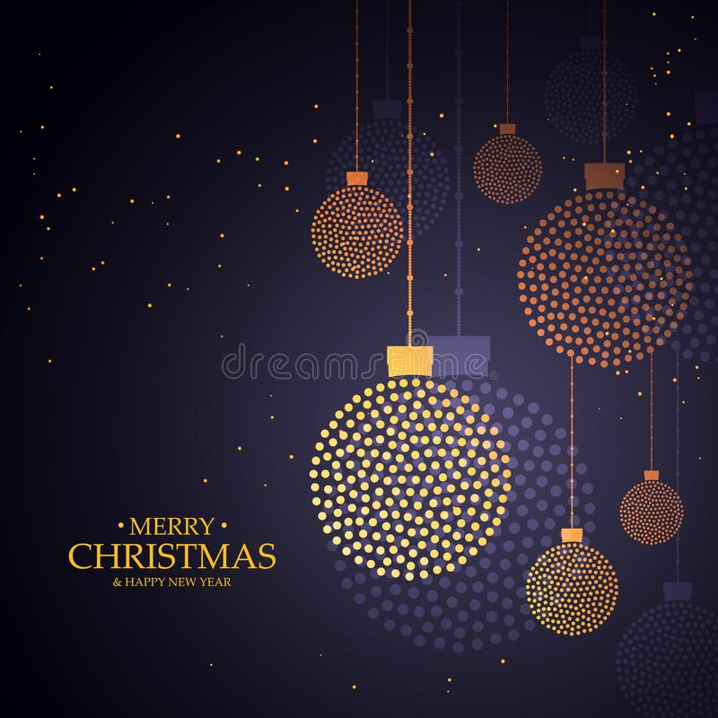 Creative christmas balls design made with small dots. Vector illustration stock illustration