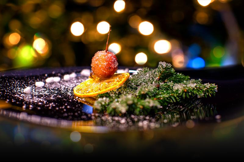 Creative Christmas composition with cherry and christmas tree stock image