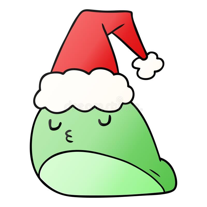 A creative christmas gradient cartoon of kawaii slug. An original creative christmas gradient cartoon of kawaii slug stock illustration