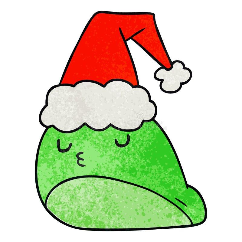 A creative christmas textured cartoon of kawaii slug. An original creative christmas textured cartoon of kawaii slug stock illustration