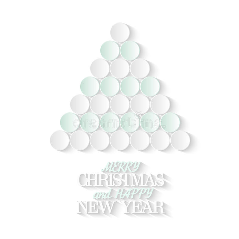 Creative Christmas tree consists from 3d paper. Circles. Merry Christmas and Happy New Year. New Year, Christmas Holiday greeting Card, banner design template vector illustration