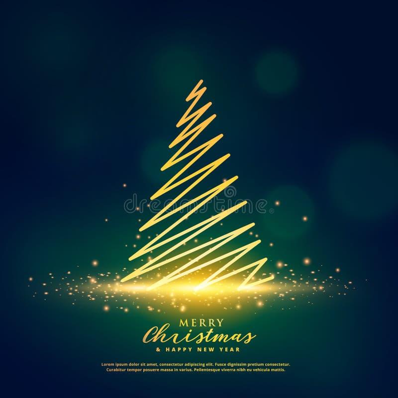Creative christmas tree design on glowing glitter sparkles. Vector stock illustration
