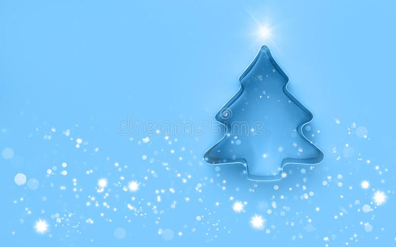 Creative christmas tree. Minimalistic christmas background. Flat lay. Copy spase royalty free stock images
