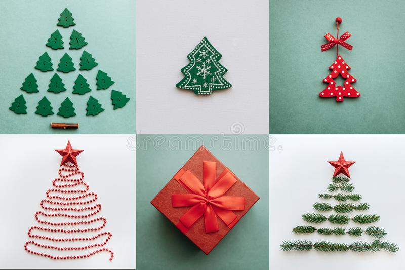 Creative Christmas trees and a gift in a box on different backgrounds. stock photo