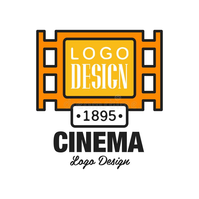 Creative cinema or movie logo template design. Emblem concept with old retro vintage orange filmstrip and text. Flat. Creative geometric cinema or movie logo royalty free illustration