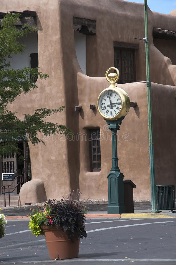 The Creative City of Santa Fe In New Mexico with its multitude of Galleries and Sculptures and adobe buildings royalty free stock photos