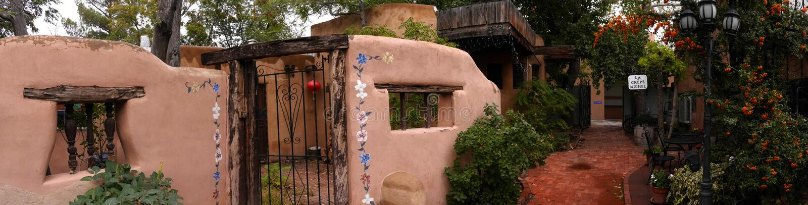 The Creative City of Santa Fe In New Mexico with its multitude of Galleries and Sculptures and adobe buildings. Sante Fe in New Mexico has a very traditional stock images