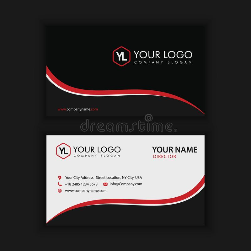 Creative and Clean Business Card Template. Black and Red. Colors stock illustration