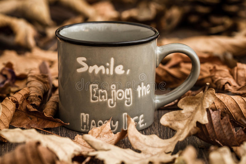 Download Creative, Coffee Mugs With Text On A Background Created By Leave Stock Photo - Image: 83711280