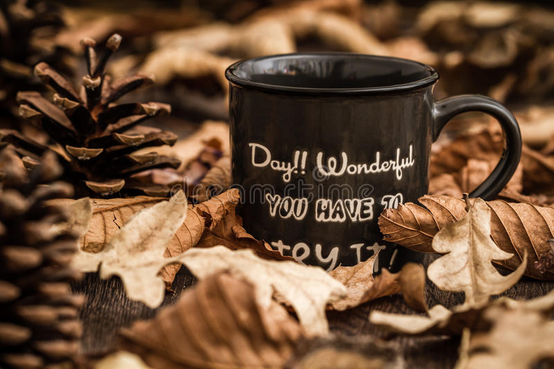 Download Creative, Coffee Mugs With Text On A Background Created By Leave Stock Photo - Image: 83711877