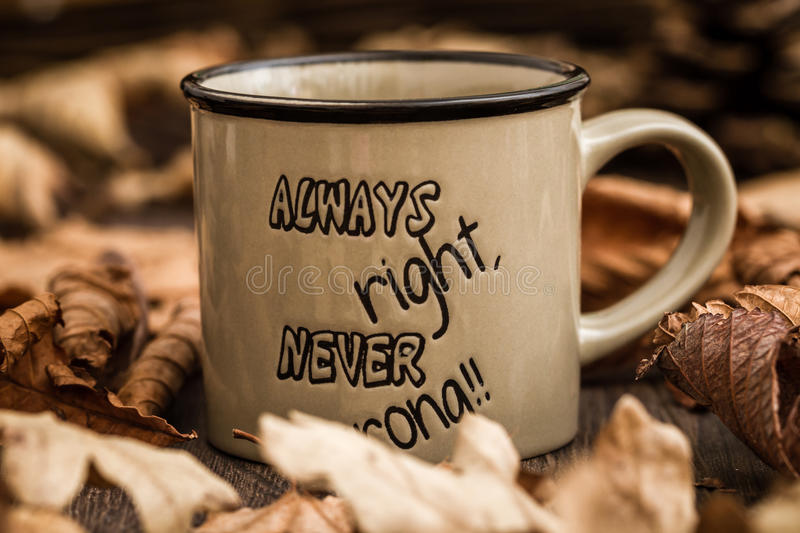 Download Creative, Coffee Mugs With Text On A Background Created By Leave Stock Photo - Image: 83712763