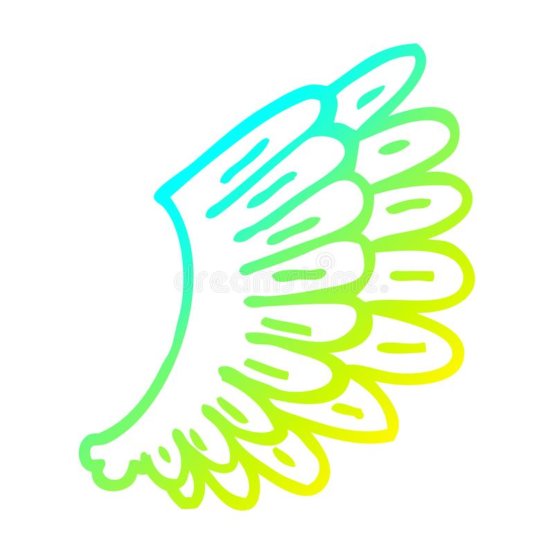 A creative cold gradient line drawing cartoon angel wings. An original creative cold gradient line drawing cartoon angel wings stock illustration