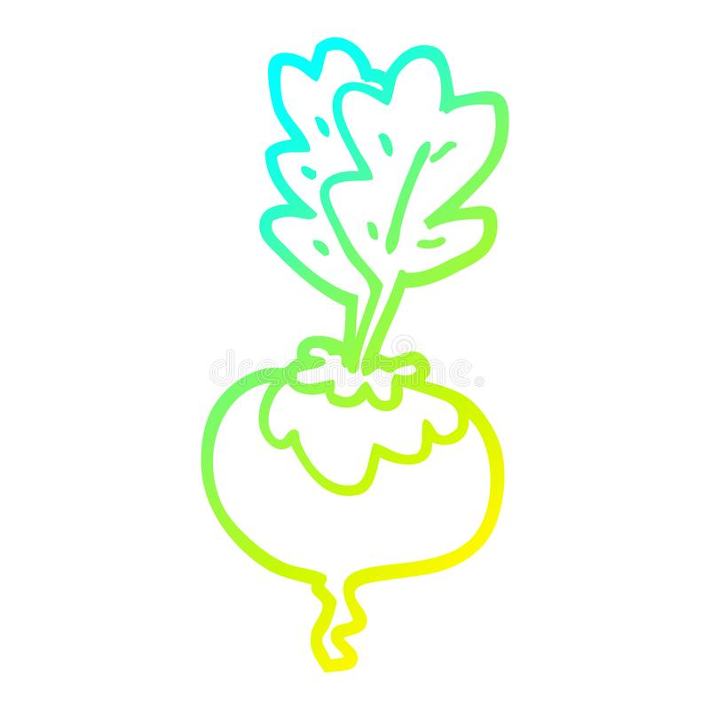A creative cold gradient line drawing cartoon beetroot. An original creative cold gradient line drawing cartoon beetroot stock illustration