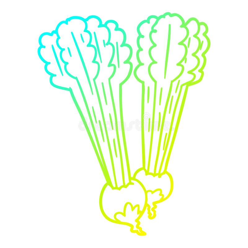 A creative cold gradient line drawing Cartoon beetroots. An original creative cold gradient line drawing Cartoon beetroots vector illustration