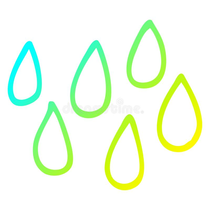 A creative cold gradient line drawing cartoon blood droplets. An original creative cold gradient line drawing cartoon blood droplets stock illustration