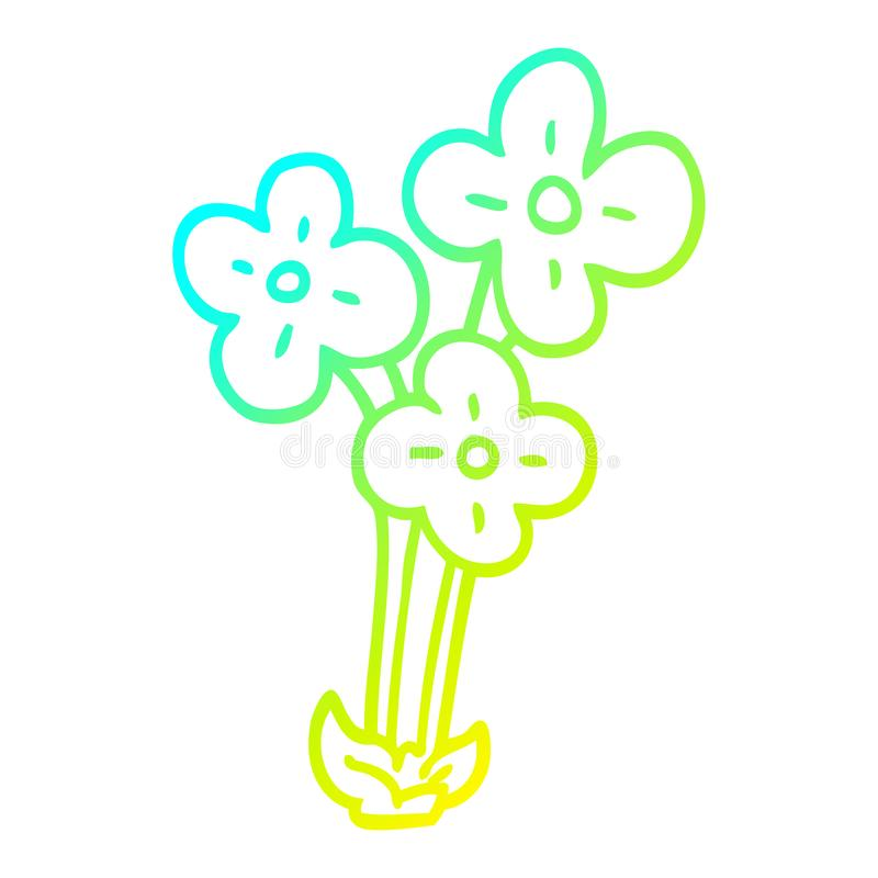 A creative cold gradient line drawing cartoon bunch of flowers. An original creative cold gradient line drawing cartoon bunch of flowers royalty free illustration