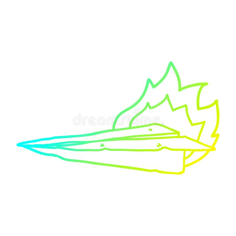 A creative cold gradient line drawing cartoon burning paper airplane. An original creative cold gradient line drawing cartoon burning paper airplane vector illustration