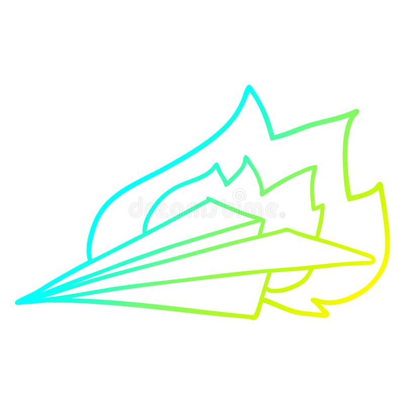 A creative cold gradient line drawing cartoon burning paper airplane. An original creative cold gradient line drawing cartoon burning paper airplane royalty free illustration