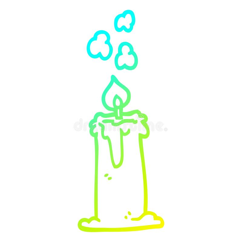 A creative cold gradient line drawing cartoon candle burning royalty free illustration