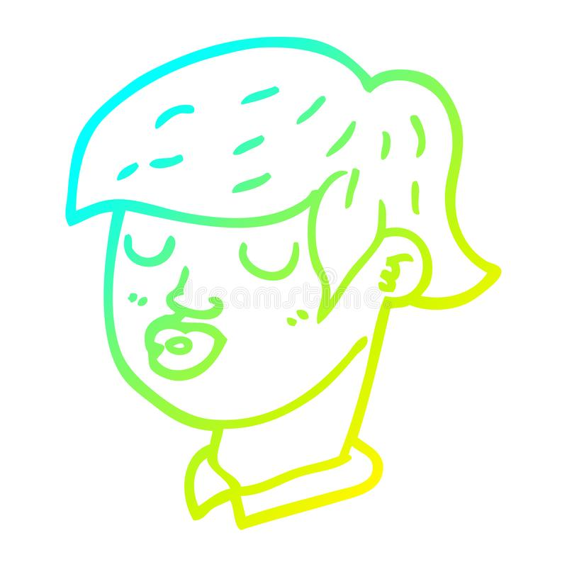 A creative cold gradient line drawing cartoon content face. An original creative cold gradient line drawing cartoon content face vector illustration