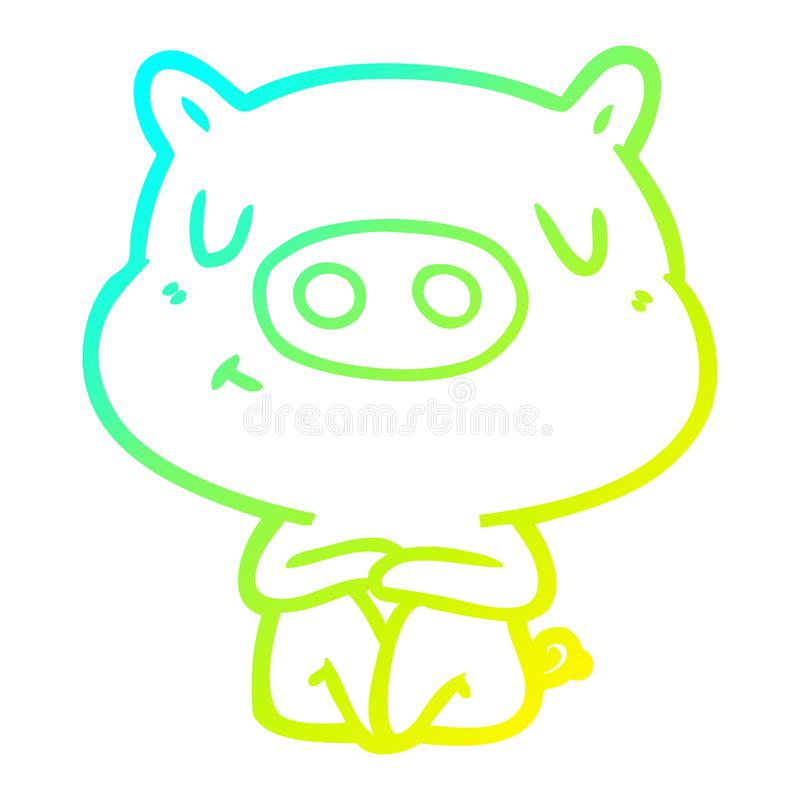 A creative cold gradient line drawing cartoon content pig meditating. An original creative cold gradient line drawing cartoon content pig meditating stock illustration