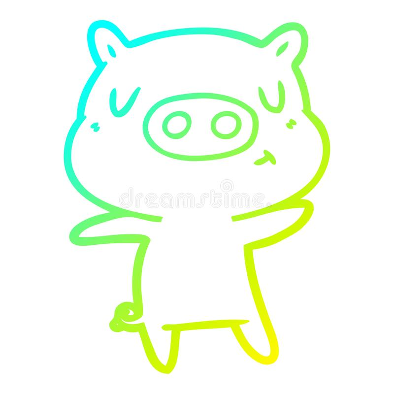 A creative cold gradient line drawing cartoon content pig. An original creative cold gradient line drawing cartoon content pig vector illustration