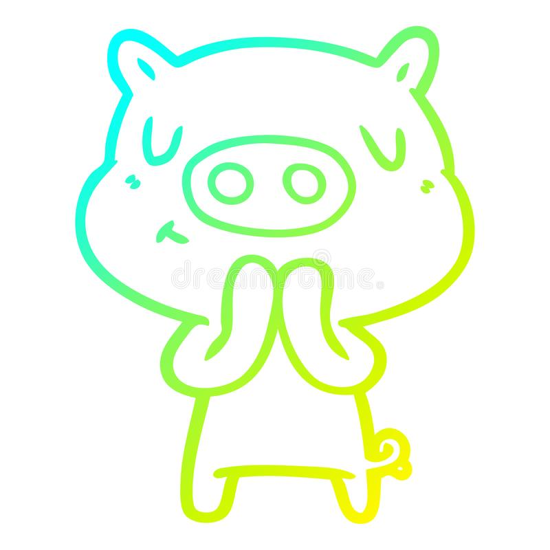 A creative cold gradient line drawing cartoon content pig. An original creative cold gradient line drawing cartoon content pig royalty free illustration